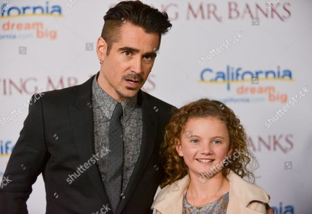 "Colin Farrell, left, and Annie Rose Buckley arrive at the U.S. Premiere of ""Saving Mr. Banks,"" at Disney Studios,, in Burbank, Calif"