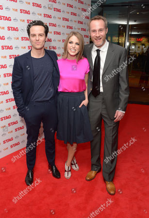 """Andrew Scott, Amy Huberton and Peter McDonald arrive at the UK Screening of """"The Stag"""" at Vue Cinema in London on Thursday, March. 13th, 2014"""