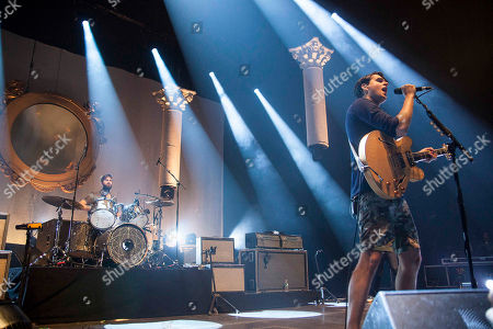 Ezra Koenig and Chris Tomson with Vampire Weekend performing at The Fox Theater, in Atlanta