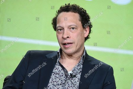 "Writer Lawrence Hill speaks on stage during BET's ""Book of Negroes"" panel at the Viacom 2015 Winter TCA, in Pasadena, Calif"