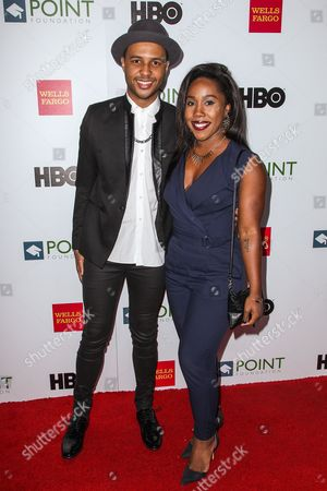 Rayvon Owen, left, and Jaimi Gray attend the Voices on Point Gala at the Hyatt Regency Century City on in Los Angeles