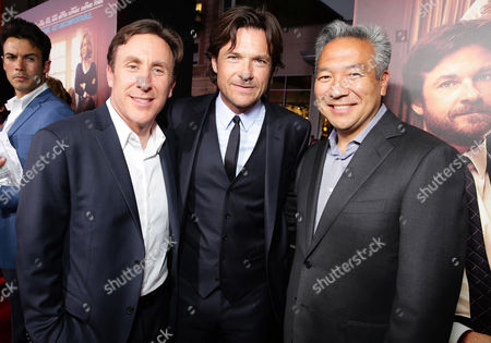 "Stock Image of Executive Producer/Writer Jonathan Tropper, Jason Bateman and Kevin Tsujihara, Chief Executive Officer of Warner Bros. seen at Warner Bros. ""This is Where I Leave You"" Los Angeles Premiere, in Los Angeles"