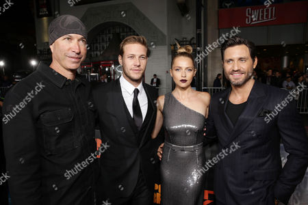 Director/Cinematographer Ericson Core, Luke Bracey, Teresa Palmer and Edgar Ramirez seen at Warner Bros. Pictures and Alcon Entertainment present 'Point Break' at TCL Chinese Theatre, in Hollywood, CA