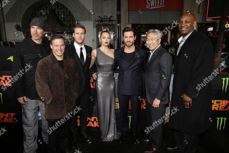 Director/Cinematographer Ericson Core, Producer Andrew A. Kosove, Luke Bracey, Teresa Palmer, Edgar Ramirez, Kevin Tsujihara, Chairman and Chief Executive Officer, Warner Bros., and Producer Broderick Johnson seen at Warner Bros. Pictures and Alcon Entertainment present 'Point Break' at TCL Chinese Theatre, in Hollywood, CA