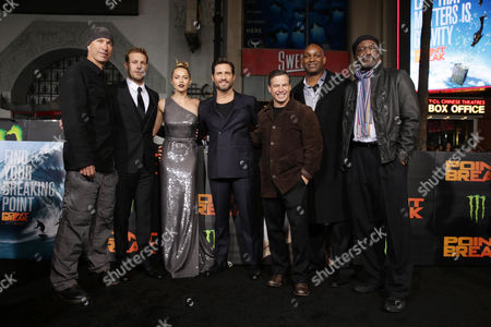 Director/Cinematographer Ericson Core, Luke Bracey, Teresa Palmer, Edgar Ramirez, Producer Andrew A. Kosove, Producer Broderick Johnson and Delroy Lindo seen at Warner Bros. Pictures and Alcon Entertainment present 'Point Break' at TCL Chinese Theatre, in Hollywood, CA