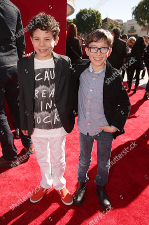 Jadon Sand and Cole Sand seen at Warner Bros. Pictures Los Angeles Premiere of 'The Lego Movie', on in Los Angeles