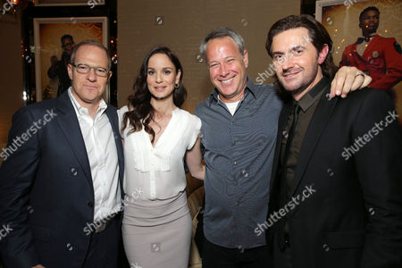 Toby Emmerich, president and COO, New Line Cinema, Sarah Wayne Callies, producer Todd Garner and Richard Armitage seen at Warner Bros: The Big Picture 2014 presentation at Cinemacon, in Las Vegas