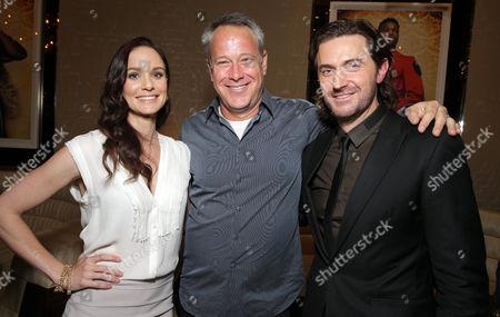 Sarah Wayne Callies, producer Todd Garner and Richard Armitage seen at Warner Bros: The Big Picture 2014 presentation at Cinemacon, in Las Vegas