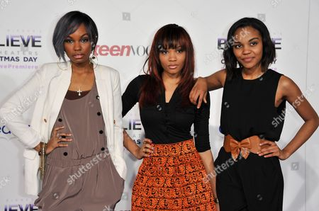 """From left, Sierra Aylina McClain, Lauryn Alisa McClain, and China Anne McClain arrive at the World Premiere of """"Justin Bieber's Believe"""" at Regal Cinemas L.A. Live on in Los Angeles"""