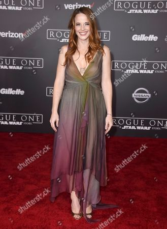 """Katie Leclerc arrives at the world premiere of """"Rogue One: A Star Wars Story"""" at the Pantages Theatre, in Los Angeles"""