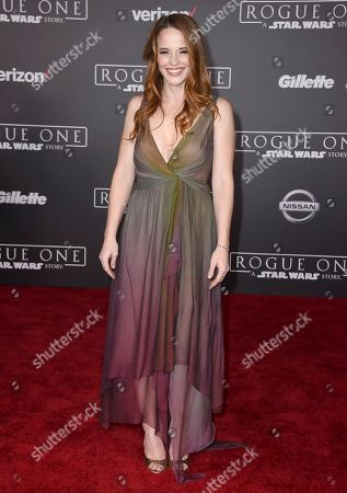 """Stock Photo of Katie Leclerc arrives at the world premiere of """"Rogue One: A Star Wars Story"""" at the Pantages Theatre, in Los Angeles"""