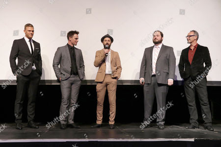 Writer/Producer/Actor Alan Ritchson, Darin Brooks, Writer/Producer/Actor Chris Romano, Writer/Producer Eric Falconer and Director Lev L. Spiro seen at World premiere of 'Blue Mountain State: The Rise of Thadland' at The Fonda Theatre, in Los Angeles, CA