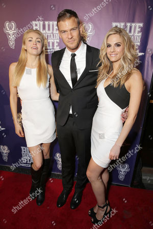 Stock Picture of Lindsey Sporrer, Writer/Producer/Actor Alan Ritchson and Kelly Kruger seen at World premiere of 'Blue Mountain State: The Rise of Thadland' at The Fonda Theatre, in Los Angeles, CA