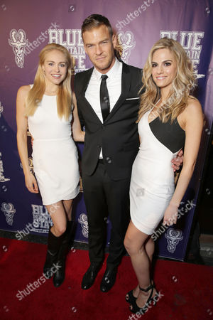 Lindsey Sporrer, Writer/Producer/Actor Alan Ritchson and Kelly Kruger seen at World premiere of 'Blue Mountain State: The Rise of Thadland' at The Fonda Theatre, in Los Angeles, CA