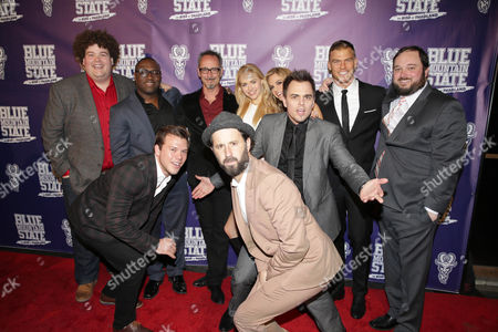 Rob Ramsay, Jimmy Tatro, Omari Newton, Director Lev L. Spiro, Writer/Producer/Actor Chris Romano, Lindsey Sporrer, Kelly Kruger, Darin Brooks, Writer/Producer/Actor Alan Ritchson, Writer/Producer Eric Falconer seen at World premiere of 'Blue Mountain State: The Rise of Thadland' at The Fonda Theatre, in Los Angeles, CA