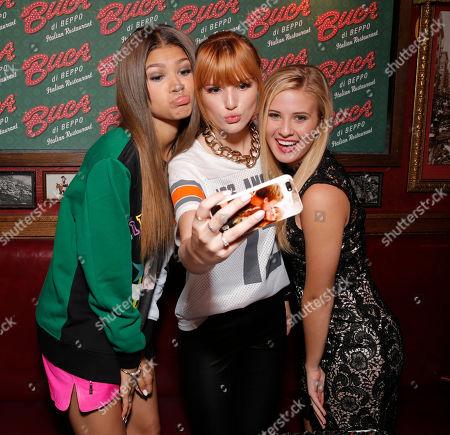Zendaya Coleman, Bella Thorne, Caroline Sunshine attend Zendaya's CD Release celebration at Buca di Beppo on in Universal City, Calif