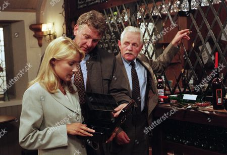Ep 2116 Tuesday 17th September 1996 Police forensics investigate a break-in at the tearooms. Pollard's wine and Kathy's takings have been stolen. DI Farrar is interested to see Sam working there. However Pollard is quick to point the finger at Sean, who he says left under a cloud after a row involving money. Kathy defends Sean, but is shocked when pollard tells the police that Sean has a criminal record. She is shocked to hear this - With DI Farrar, as played by David Beckett; Kathy Bates, as played by Malandra Burrows ; Eric Pollard, as played by Christopher Chittell.