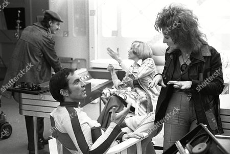 Behind the scenes, Martin Landau and Sylvia Anderson