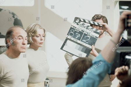Barry Morse and Barbara Bain, behind the scenes.