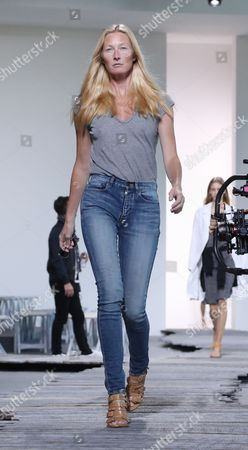 Stock Picture of Maggie Rizer on the catwalk during rehearsals