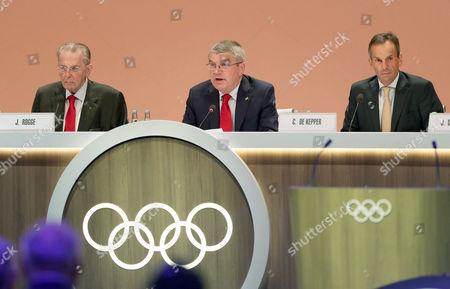Thomas Bach, Christophe de Kepper and Jacques Rogge