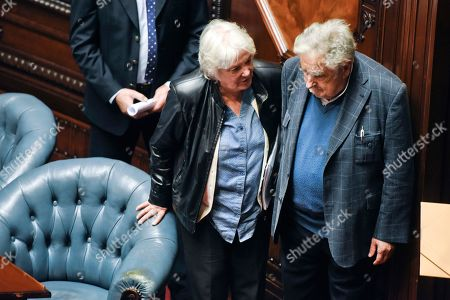 Jose Mujica, Lucia Topolansky. Uruguay's newly named Vice President Lucia Topolansky leaves Senate chambers with her husband former President Jose Mujica, after presiding over a session in her new role, in Montevideo, Uruguay, . Vice President Raul Sendic resigned Wednesday amid allegations of corruption and was replaced by Topolansky, the first woman in Uruguay to hold that position