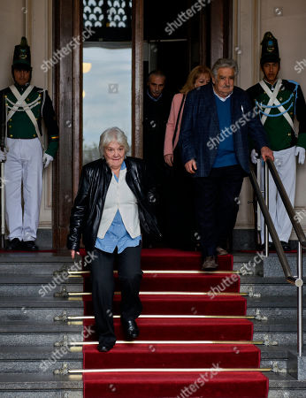 Lucia Topolansky, Jose Mujica. Uruguay's newly named Vice President Lucia Topolansky, left center, descends the steps of Parliament, followed by her husband, former President Jose Mujica, after presiding over a session in her new role, in Montevideo, Uruguay, . Vice President Raul Sendic resigned Wednesday amid allegations of corruption and was replaced by Topolansky, the first woman in Uruguay to hold that position