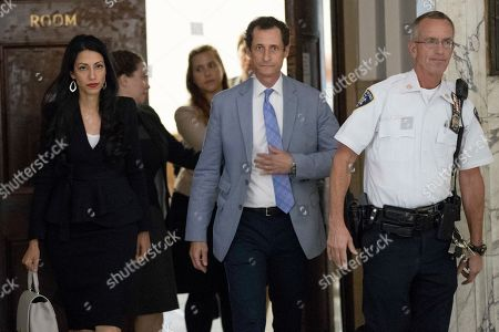 Anthony Weiner, Huma Abedin. Former congressman Anthony Weiner, center, and his estranged wife, Huma Abedin, left, leave court, in New York. Weiner and Abedin, have appeared before a New York City judge to ask for privacy in their divorce case. Their lawyers asked for parts of the case to be sealed because it involves visitation for their young child