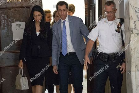 Anthony Weiner, Huma Abedin. Former congressman Anthony Weiner and his estranged wife, Huma Abedin leave court after appearing before a judge to ask for privacy in their divorce case, in New York. Abedin was a top aide to Democrat Hillary Clinton. She split with Weiner after he repeatedly sent sexually explicit material to other women. Weiner is to be sentenced later this month for sending obscene material to a 15-year-old girl