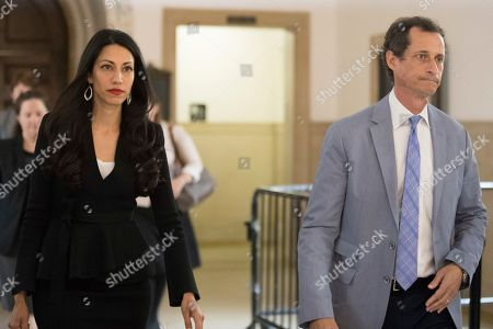 Anthony Weiner, Huma Abedin. Former congressman Anthony Weiner, right, and his estranged wife, Huma Abedin leave court after appearing before a judge to ask for privacy in their divorce case, in New York. Abedin was a top aide to Democrat Hillary Clinton and split with Weiner after he repeatedly sent sexually explicit material to other women. Weiner is to be sentenced later this month for sending obscene material to a 15-year-old girl