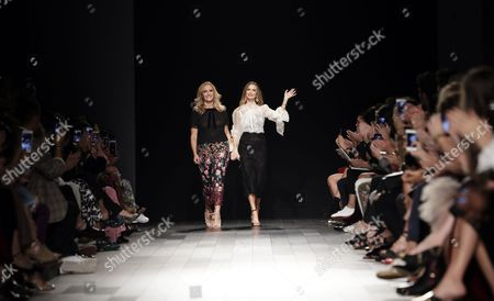 British designers Keren Craig (L) and Georgina Chapman (R) are seen at the conclusion of their Marchesa fashion show at the New York Fashion Week Spring 2018 in New York, New York, USA, 13 September 2017. The Spring 2018 collections are being presented from 07 to 13 September.