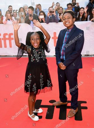 "Serenity Brown, Issac Brown. Actors Serenity Brown, left, and Issac Brown attend the premiere for ""Kings"" on day 7 of the Toronto International Film Festival, at Roy Thomson Hall, in Toronto"