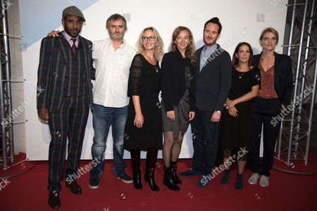 President of Jury, Sylvie Testud poses with members jury, Loup-Denis Elion, Laurent Juillet, Iris Bucher, Julien Despaux, Stephanie Tchou-Cotta and Olivia Côte