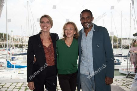 Sylvie Testud poses with members jury, Olivia Côte and Loup-Denis Elion
