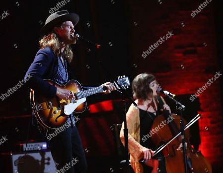 Wesley Schultz, Neyla Pekarek. Wesley Schultz, left, and Neyla Pekarek of The Lumineers, perform during the Americana Honors and Awards show, in Nashville, Tenn