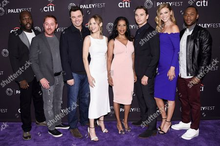 """Stock Picture of Mark Jackson, Scott Grimes, Seth MacFarlane, Halston Sage, Penny Johnson, Adrianne Palicki, J. Lee. Peter Macon, from left, Scott Grimes, Seth MacFarlane, Halston Sage, Penny Johnson, Adrianne Palicki, J. Lee attends the 2017 PaleyFest Fall TV Previews """"The Orville"""" at The Paley Center for Media, in Beverly Hills, Calif"""
