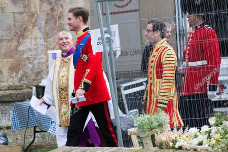 Max Brown who plays Prince Robert in the tv series The Royals during the filming at Ely Cathedral in Cambridgeshire