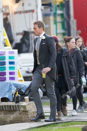 Tom Austen who plays Jasper in the tv series The Royals filming at Ely Cathedral in Cambridgeshire