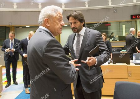 EU Commissioner for migration and home affairs Dimitris Avramopoulos (L) and Slovak Interior Minister Robert Kalinak during a Justice and Home Affairs Council in Brussels, Belgium, 14 September 2017.  The Justice and Home Affairs Council has to develop cooperation and common policies on various cross-border issues, with the aim of building an EU-wide area of freedom, security and justice.
