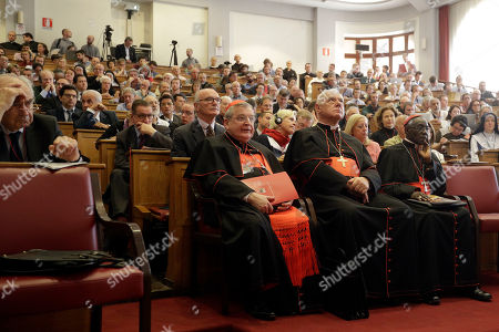 From left, former Chairman of the Vatican Bank Ettore Gotti Tedeschi, Cardinals Raymond Leo Burke, Gerhard Ludwig Mueller, and Robert Sarah attend a conference on the Latin Mass at the Pontifical University of St. Thomas Aquinas in Rome