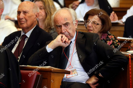 Stock Image of Former Chairman of the Vatican Bank Ettore Gotti Tedeschi attends a conference on the Latin Mass at the Pontifical University of St. Thomas Aquinas in Rome