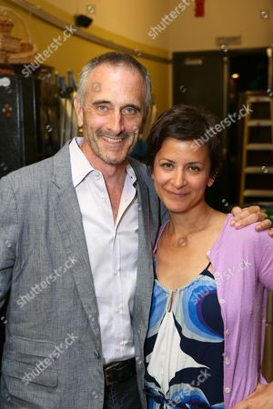 """From left, CTG Associate Artistic Director Neel Keller and director Anna D. Shapiro pose backstage after the opening night performance of """"A Parallelogram"""" at the Center Theatre Group/Mark Taper Forum, in Los Angeles, Calif"""