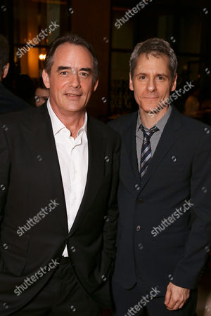 "From left, cast member Tom Irwin and playwright Bruce Norris pose during the party for the opening night performance of ""A Parallelogram"" at the Center Theatre Group/Mark Taper Forum, in Los Angeles, Calif"