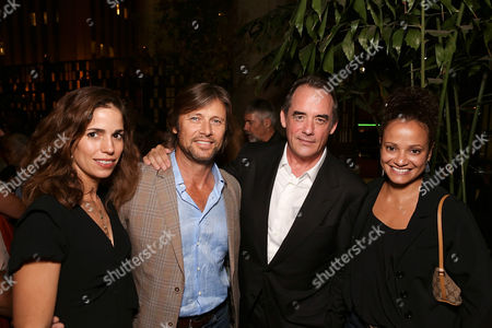 "From left, actors Ana Ortiz, Grant Show, cast member Tom Irwin and Judy Reyes pose during the party for the opening night performance of ""A Parallelogram"" at the Center Theatre Group/Mark Taper Forum, in Los Angeles, Calif"