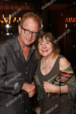 """From left, actor Jeff Perry and cast member Marylouise Burke pose during the party for the opening night performance of """"A Parallelogram"""" at the Center Theatre Group/Mark Taper Forum, in Los Angeles, Calif"""
