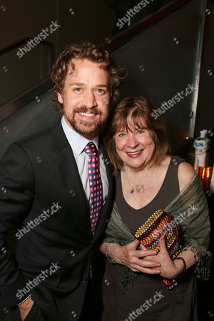 """From left, actor T.R. Knight and cast member Marylouise Burke pose during the party for the opening night performance of """"A Parallelogram"""" at the Center Theatre Group/Mark Taper Forum, in Los Angeles, Calif"""