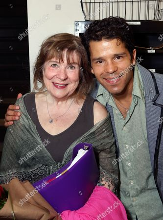 """From left, cast members Marylouise Burke and Carlo Albán pose backstage after the opening night performance of """"A Parallelogram"""" at the Center Theatre Group/Mark Taper Forum, in Los Angeles, Calif"""