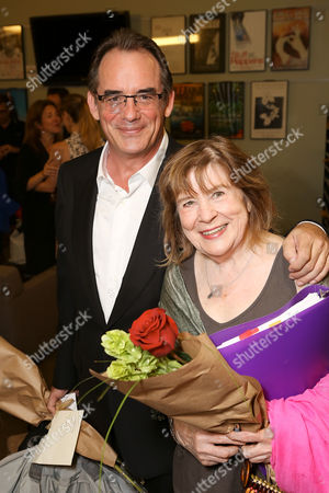 "From left, cast members Tom Irwin and Marylouise Burke pose backstage after the opening night performance of ""A Parallelogram"" at the Center Theatre Group/Mark Taper Forum, in Los Angeles, Calif"