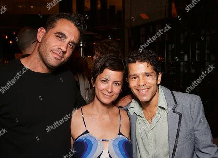 """From left, actor Bobby Cannavale, director Anna D. Shapiro and cast member Carlo Albán pose during the party for the opening night performance of """"A Parallelogram"""" at the Center Theatre Group/Mark Taper Forum, in Los Angeles, Calif"""
