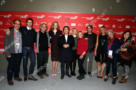 """From left, Producer Michael Costigan, actor Matthew Goode, Fox Searchlight President Steve Gilula, actress Nicole Kidman, director Chan-wook Park, actress Mia Wasikowska, Fox Searchlight President Nancy Utley, actors Dermot Mulroney, Judith Godreche, President of Production, Fox Searchlight Pictures Claudia Lewis, and composer Emily Wells attend Fox Searchlight's """"The Stoker"""" premiere during Sundance Film Festival on in Park City, Utah"""